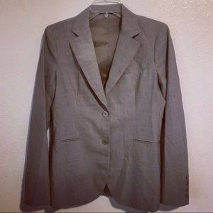 Theory Button Front Wool Blend Blazer Career Chic